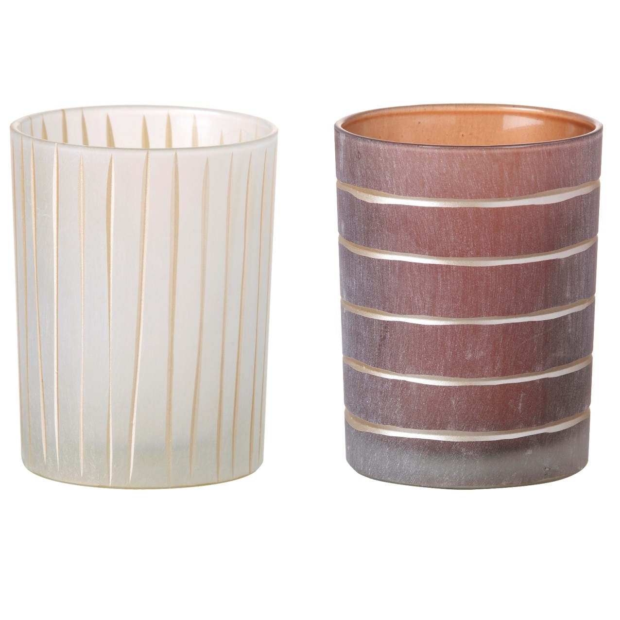 Set Of Two Large Glass Striped Tealight Holders Tutti