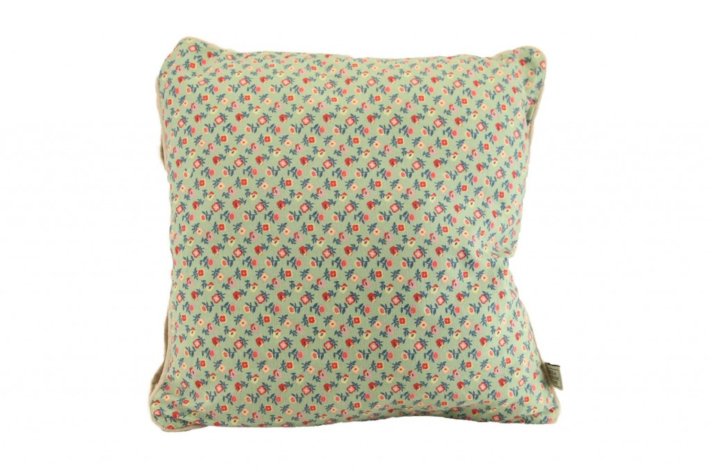 green floral square cushion