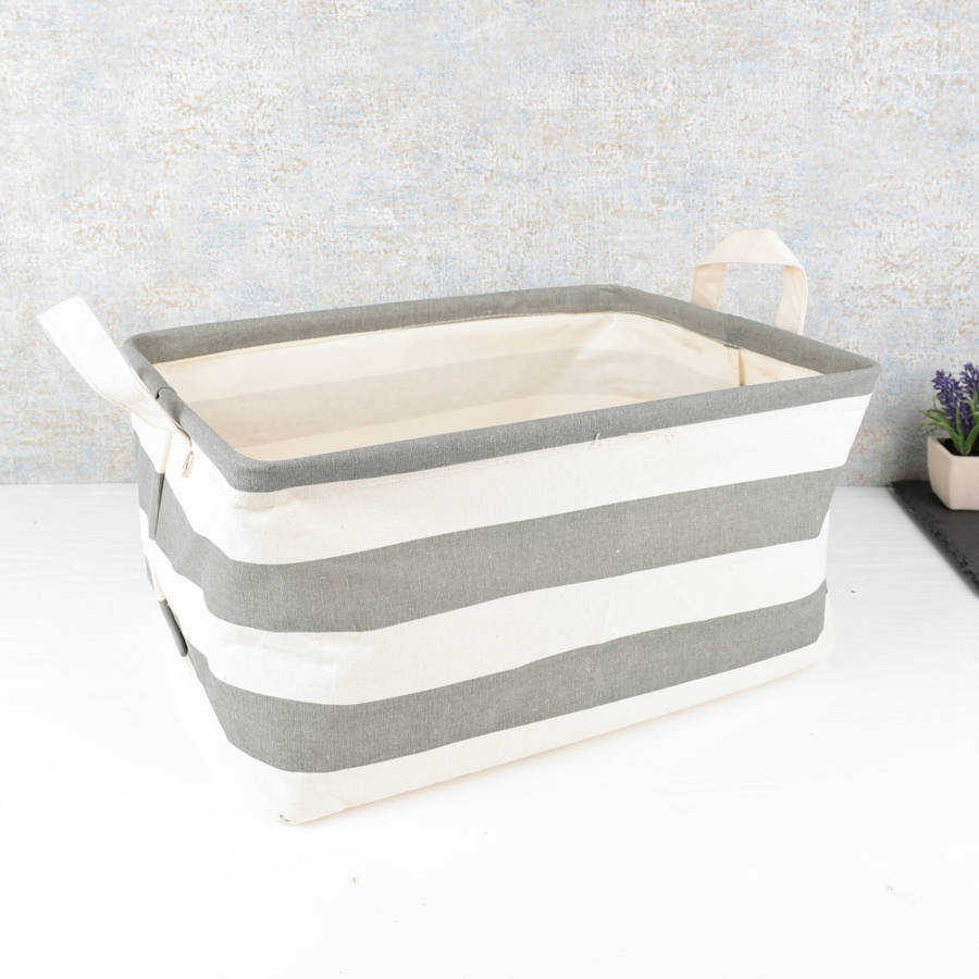 grey-striped-linen-basket-with-handles