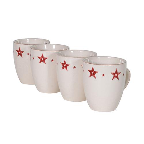 HVP016 SET OF 4 RED STAR MUGS