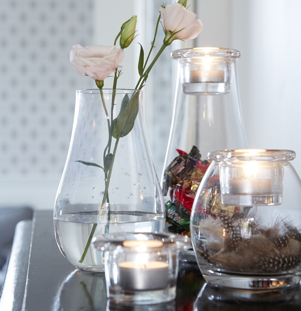Glass tealight holders vase combo