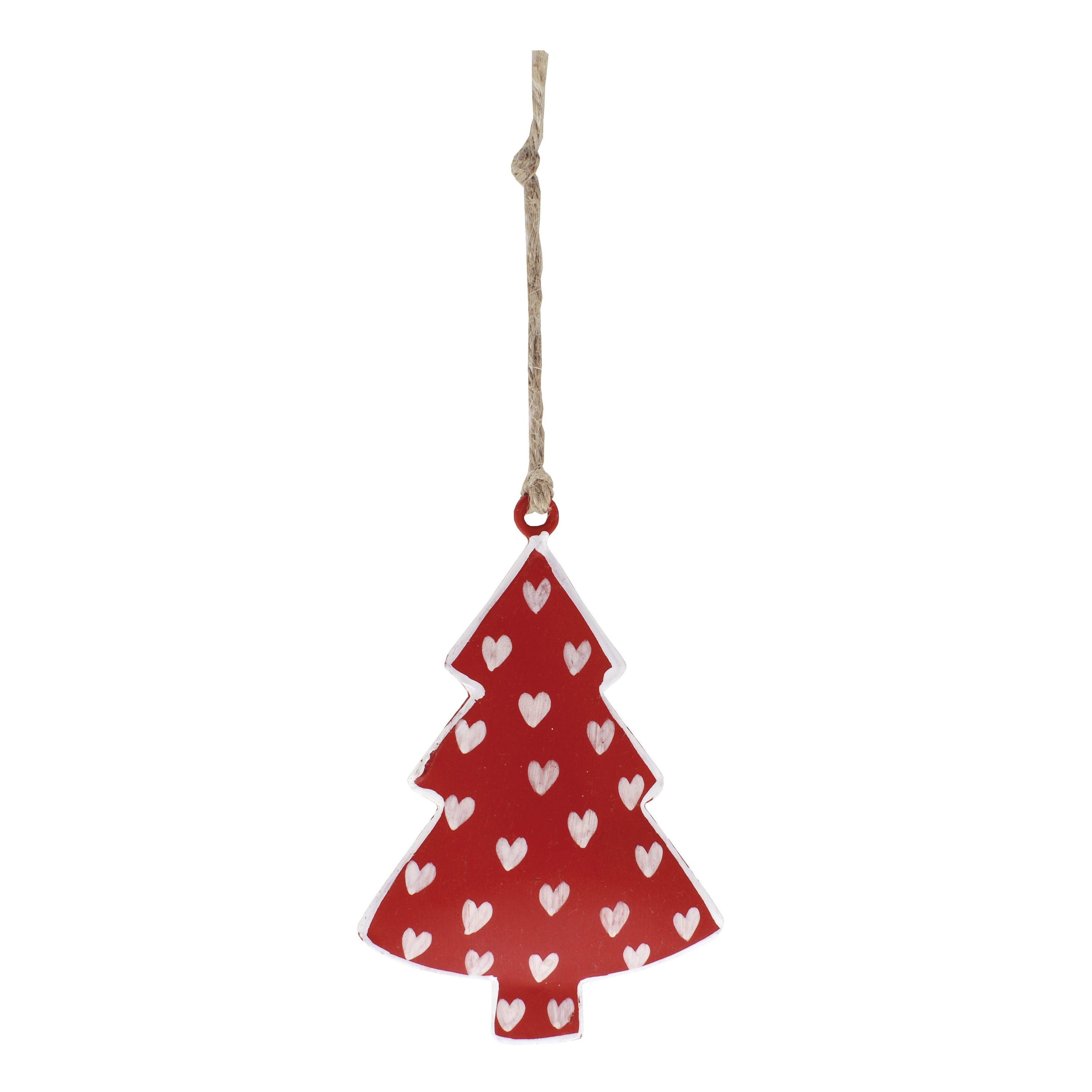 Hanging Tin Christmas Tree Decoration, in red, with painted white ...