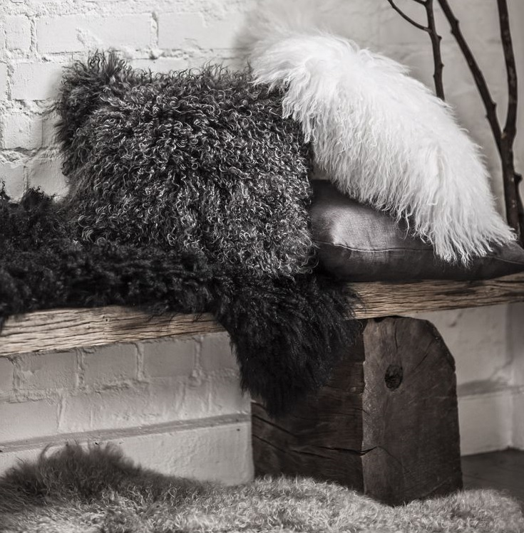 mongolian sheepskin cushions and throws