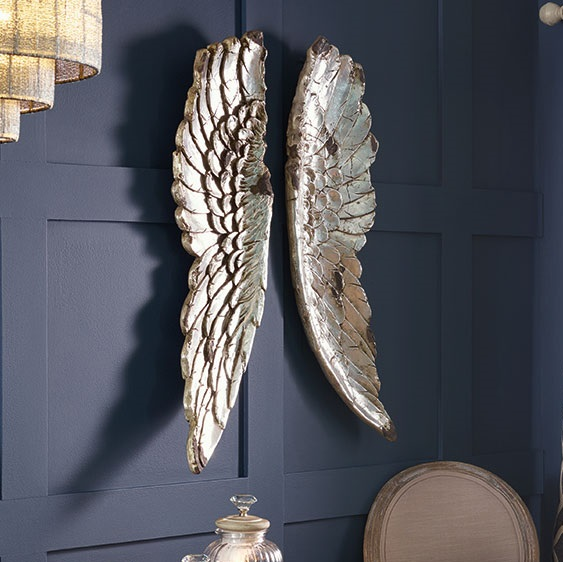 Silver angel wings wall art tutti decor ltd for Angel wings wall decoration uk