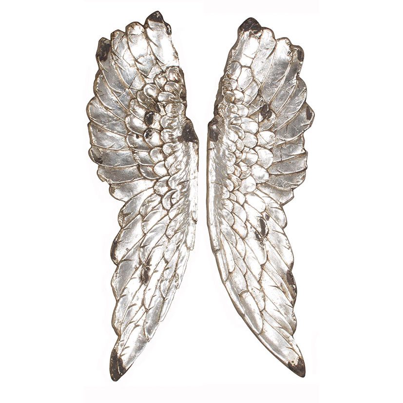 Silver angel wings wall art tutti decor ltd for Angel wings wall decoration