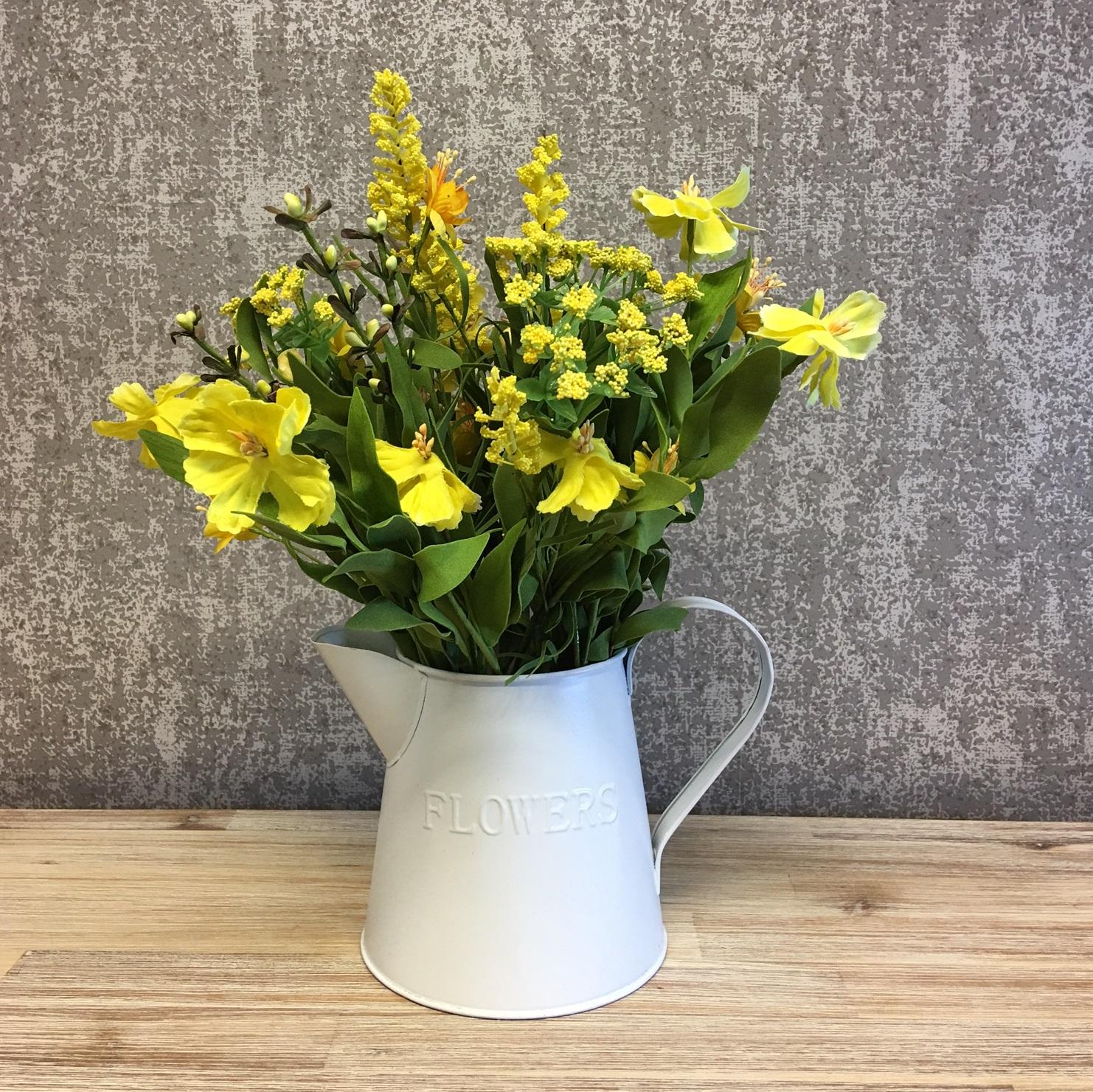 Yellow Wild Flower Bouquet Vintage Enamel Jug
