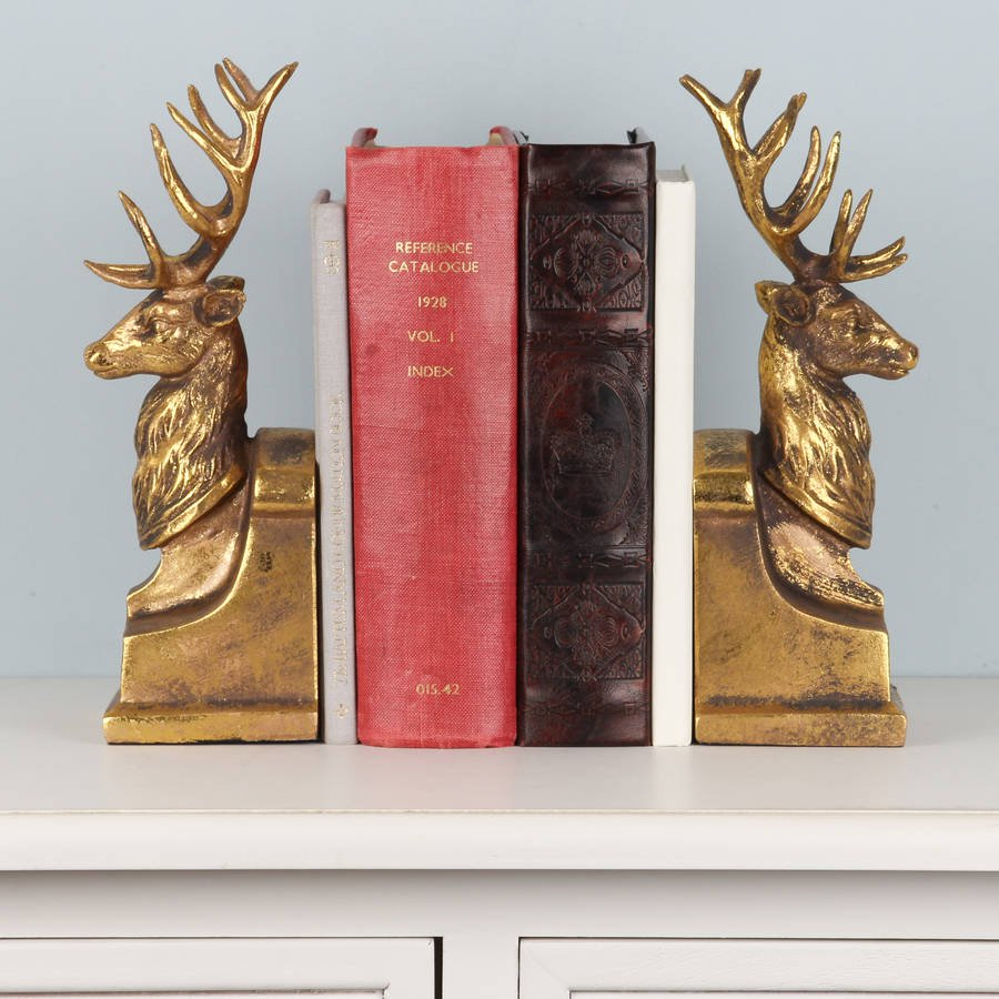 ALB172-gold-tone-gentleman-stag-bookends