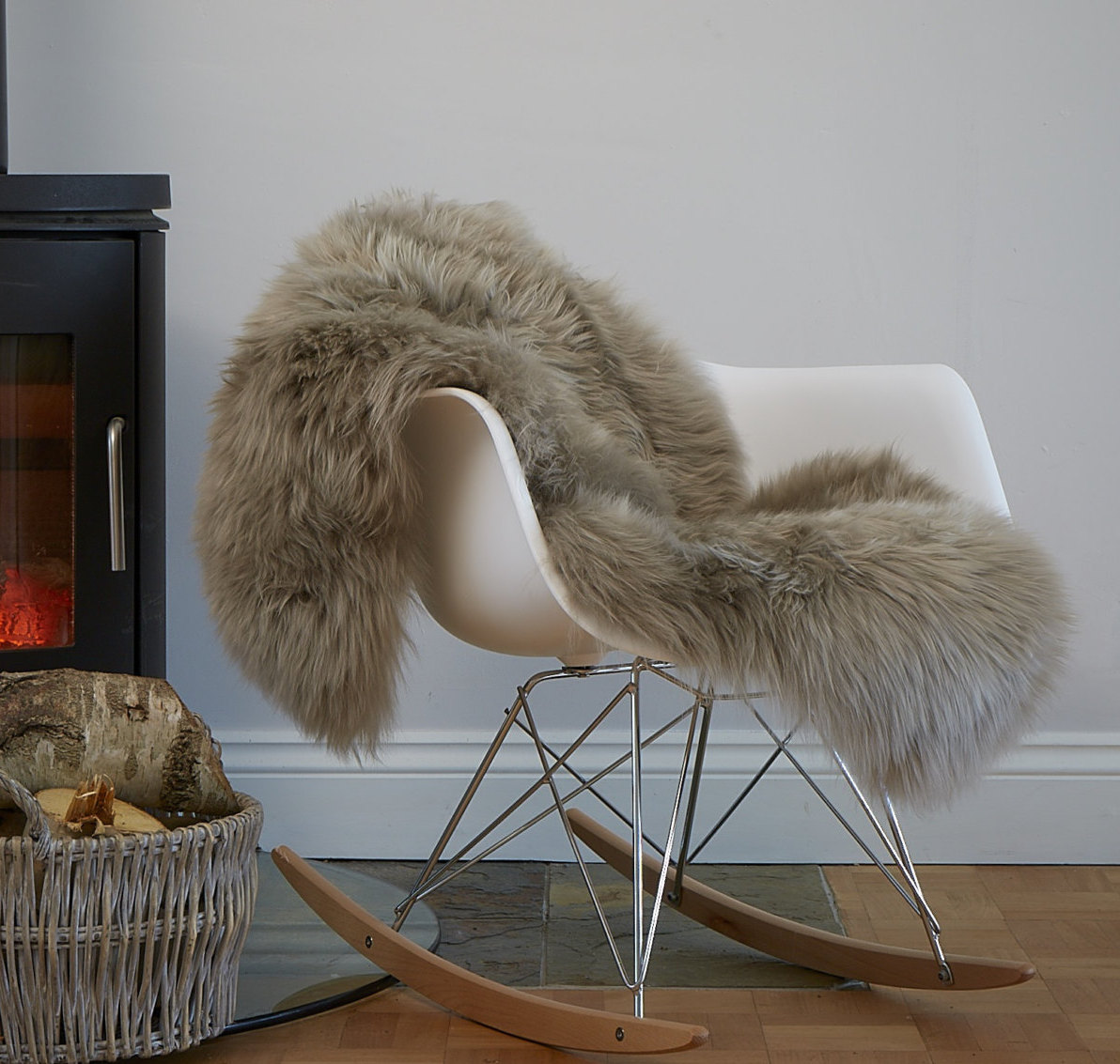 Soft Taupe Genuine Large Sheepskin Rug Thick Luxury Wool