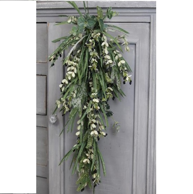 Winter Dusted Eucalyptus Spruce Fir Berries Swag Decoration Tutti
