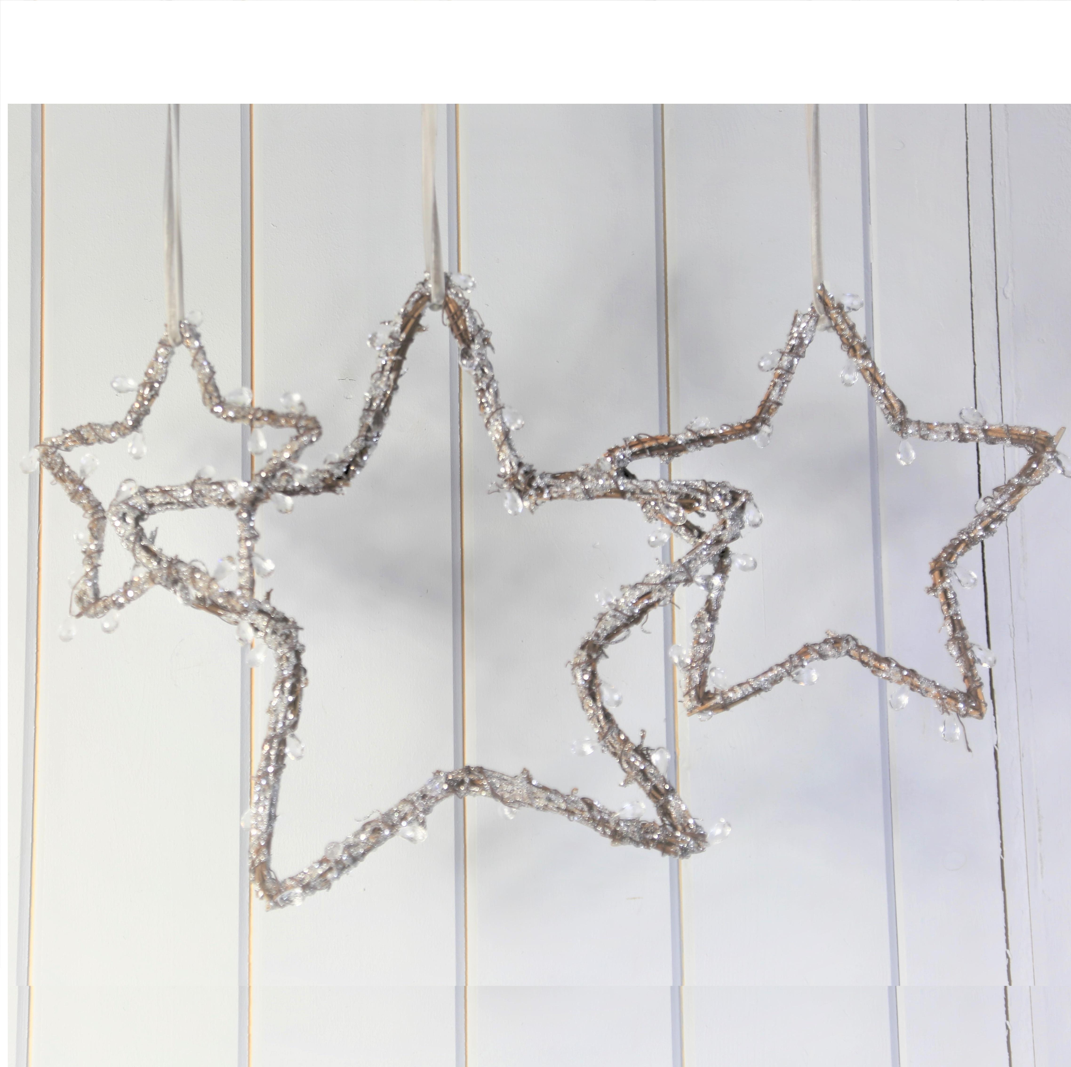 Birch Wood Twig Decorated Hanging Star Set