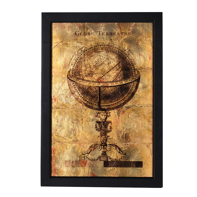 Stunning Black and Golden Globe Wall Plaque Wall Art Picture, Wooden ...