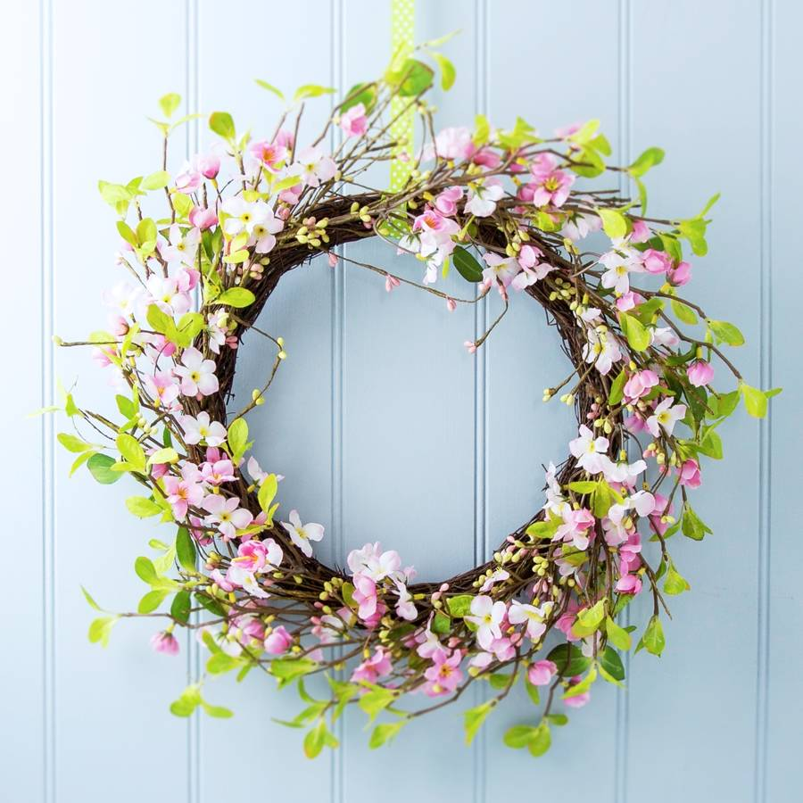 pink-easter-blossom-wreath-gisela graham