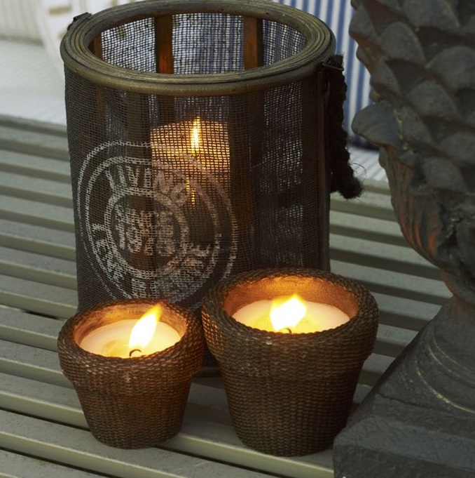 brown wicker candle