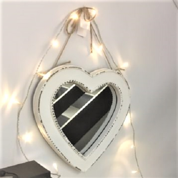 Cream Beaded Heart Mirror Tutti Decor Ltd
