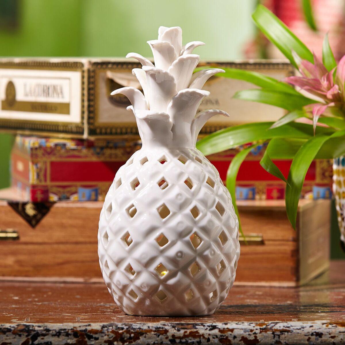 Decorative White Ceramic Pineapple Light Tutti Decor Ltd