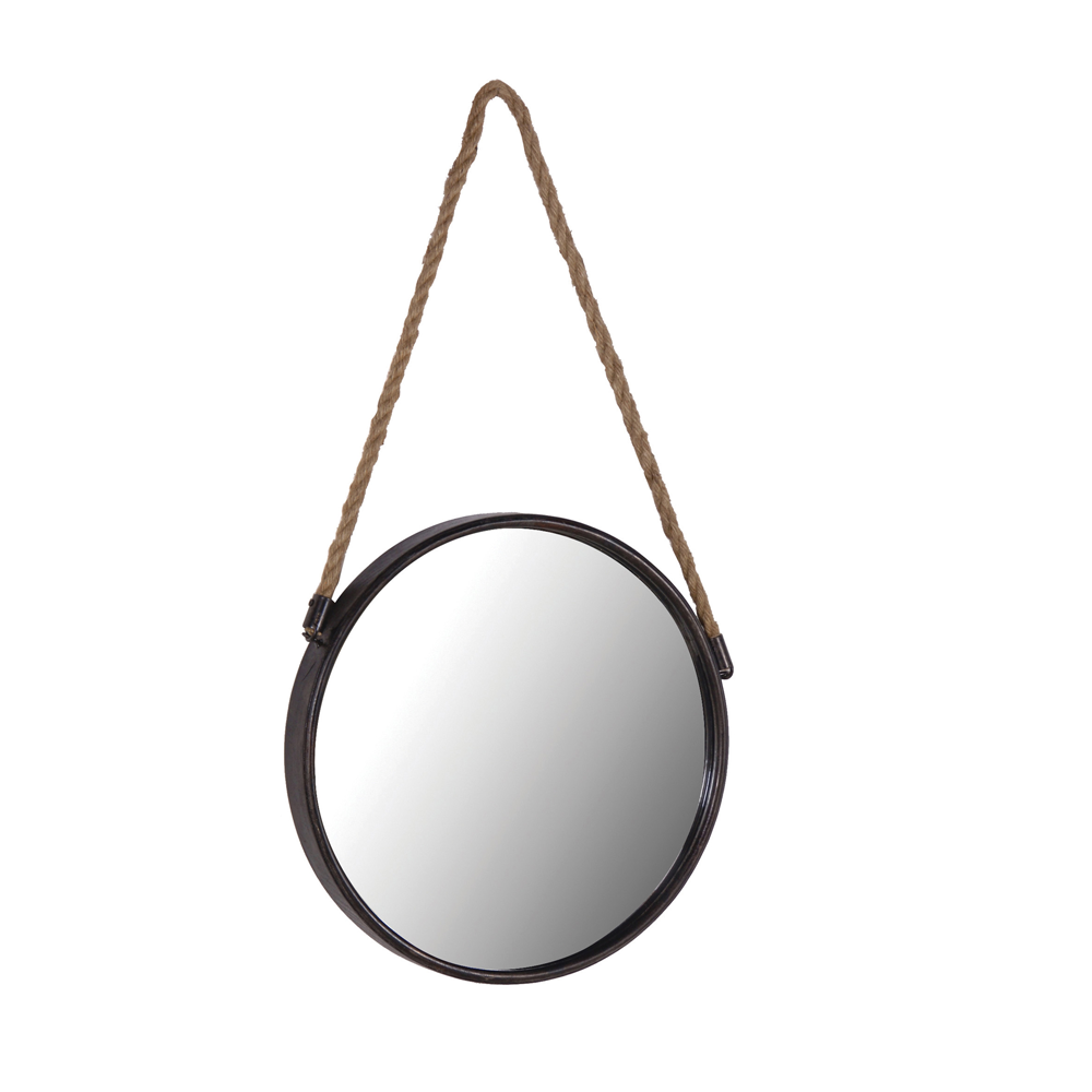 Black metal round cruise mirror tutti decor ltd for Hanging mirror