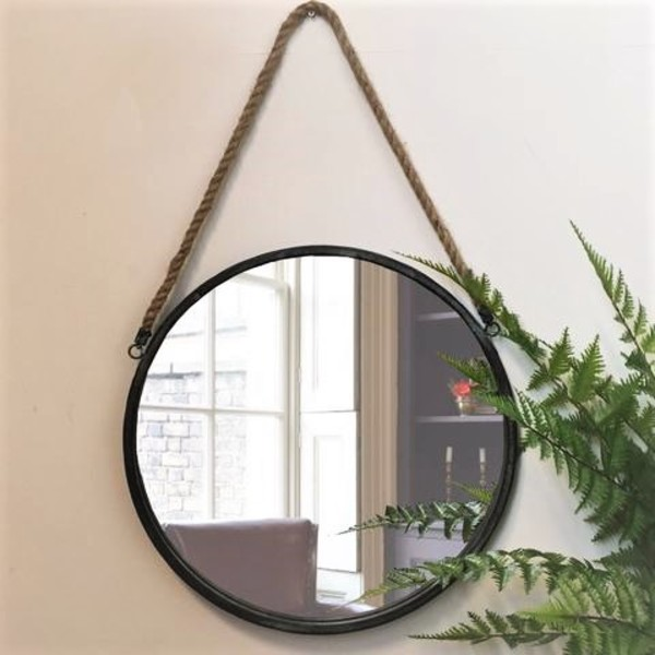 Black metal round cruise mirror tutti decor limited Hanging bathroom mirrors with frame