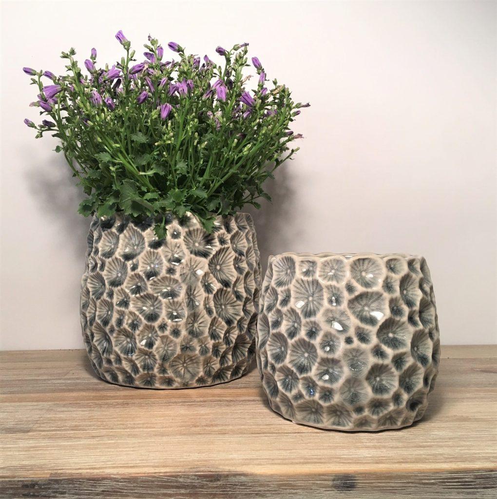 Decorative Grey Crater Ceramic Planter Plant Pot Tutti