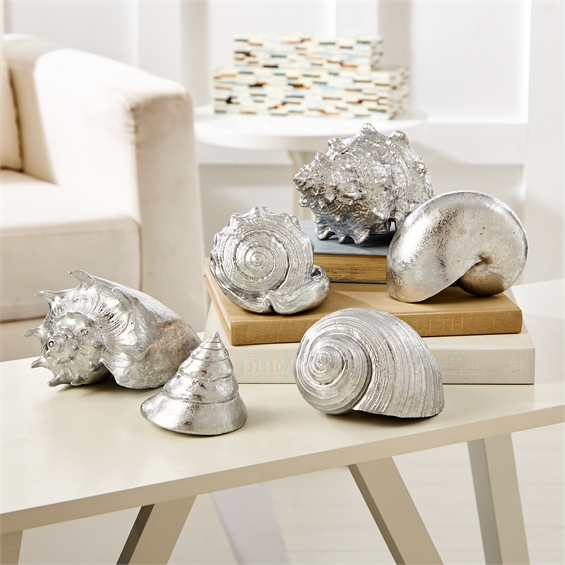 Large Silver Sea Shell Figurines Set Tutti Decor Ltd