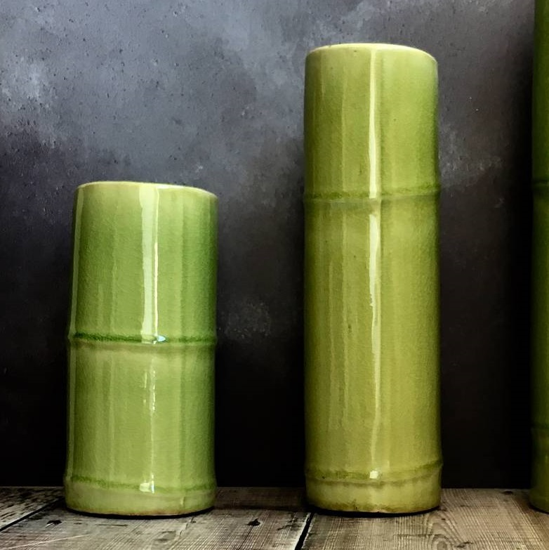 green-bamboo-vases-set