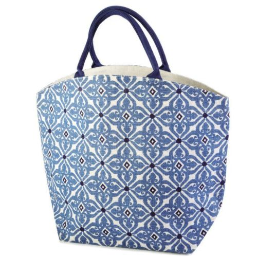 indigo jute bag blue mosaic
