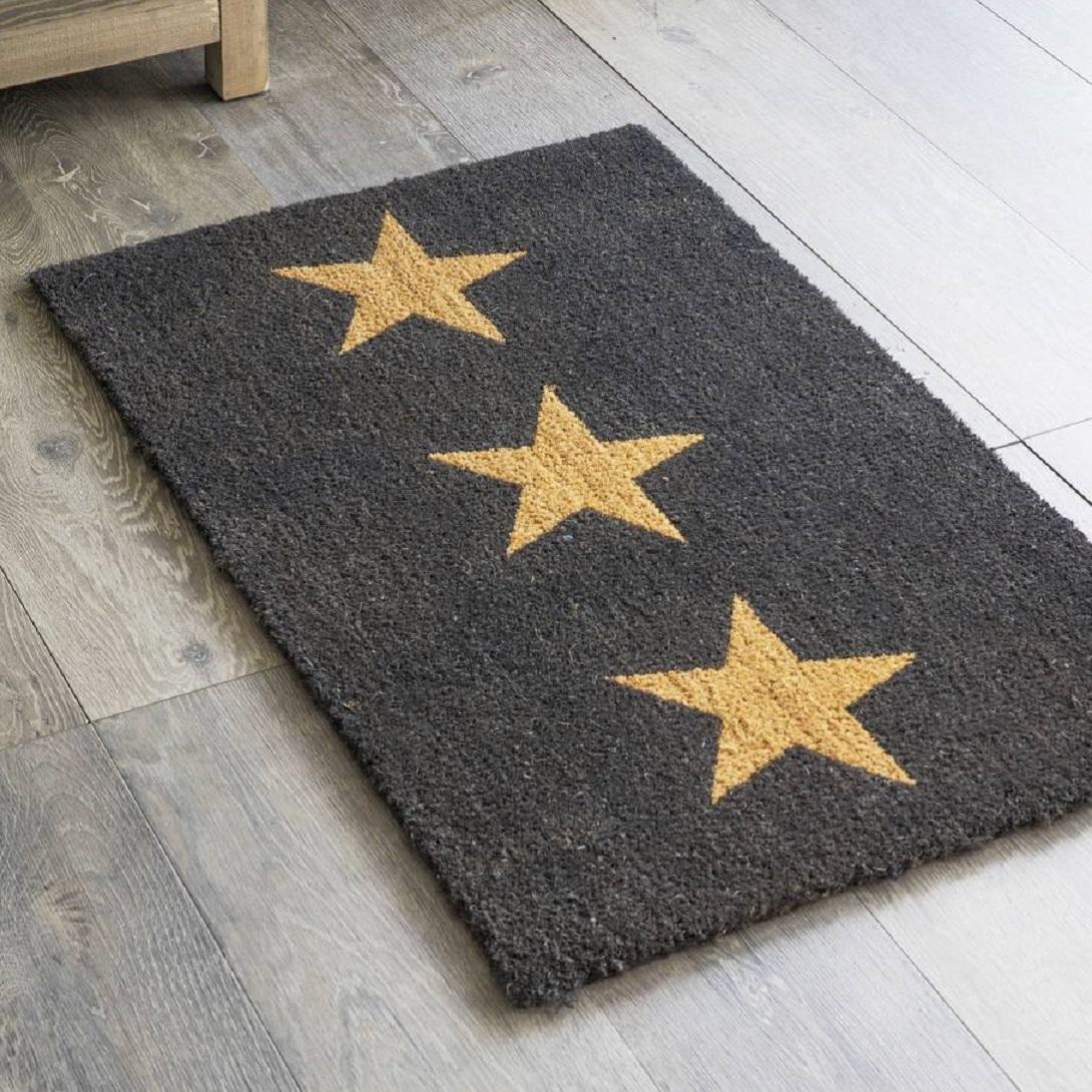 Charcoal Three Stars Doormat