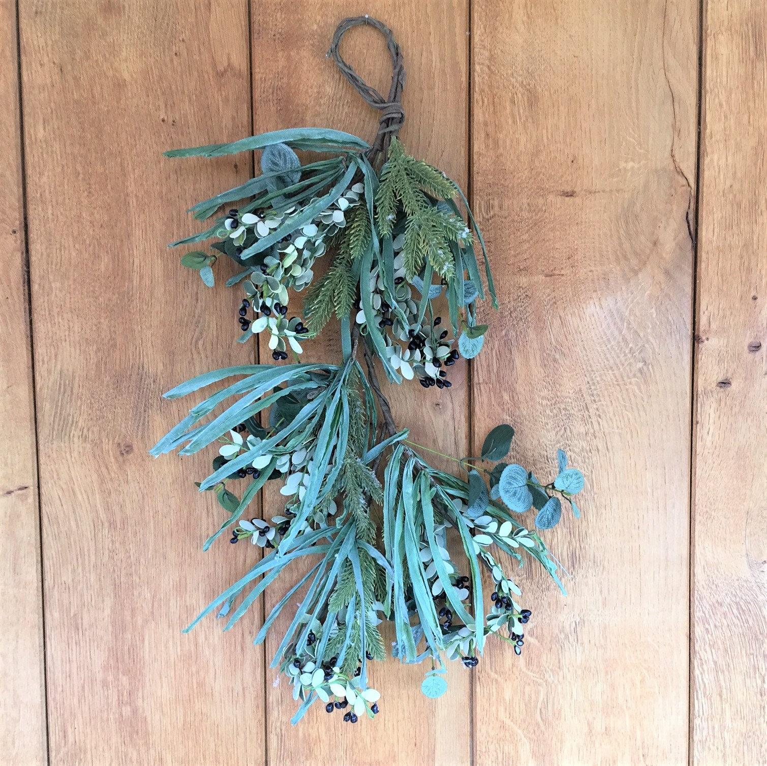 Winter dusted eucalyptus spruce fir berries swag for Bedroom kandi swag bag