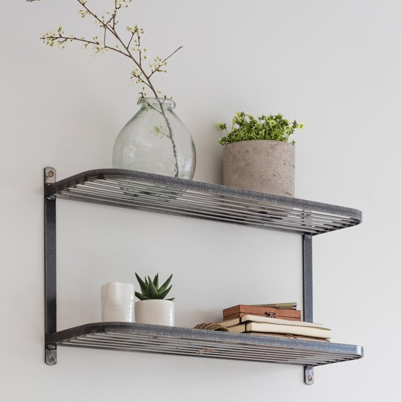 Vintage Industrial Double Wall Shelf Tutti Decor Ltd