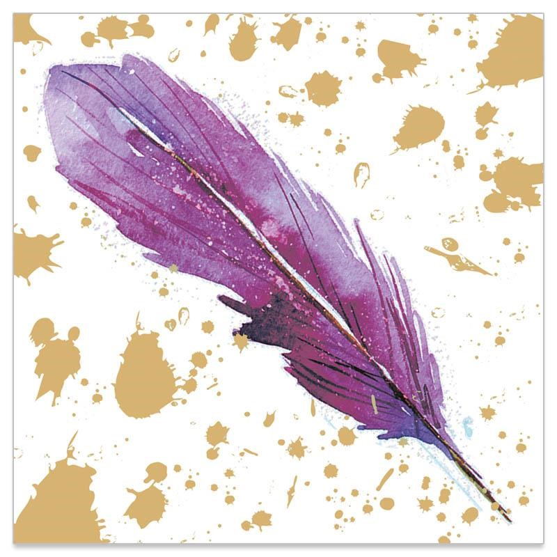 feather napkin purple