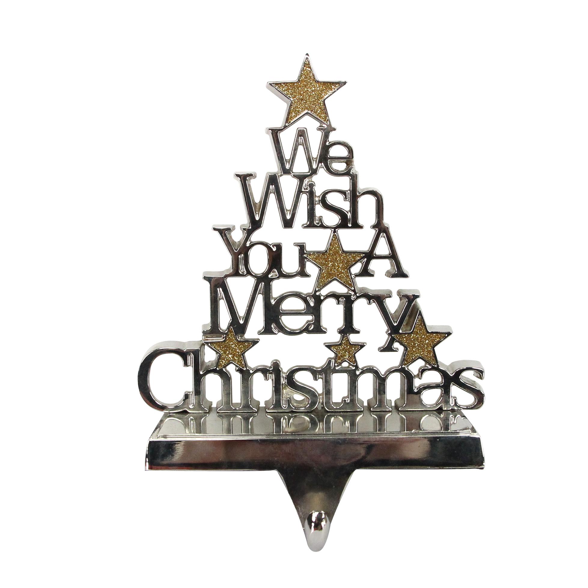 Christmas Silver Sentiment Tree Stocking Hanger Tutti
