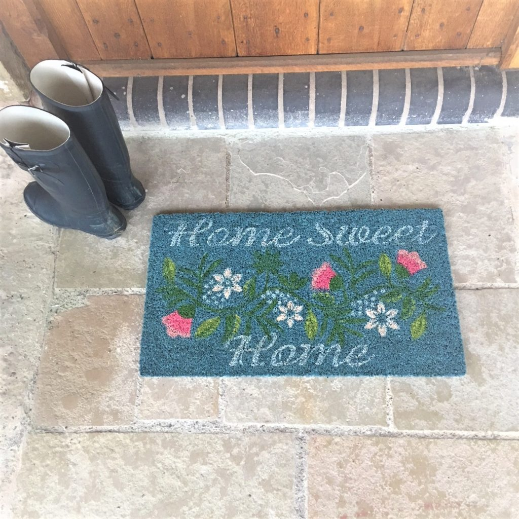 turquoise-home-sweet-home-doormat-flowers