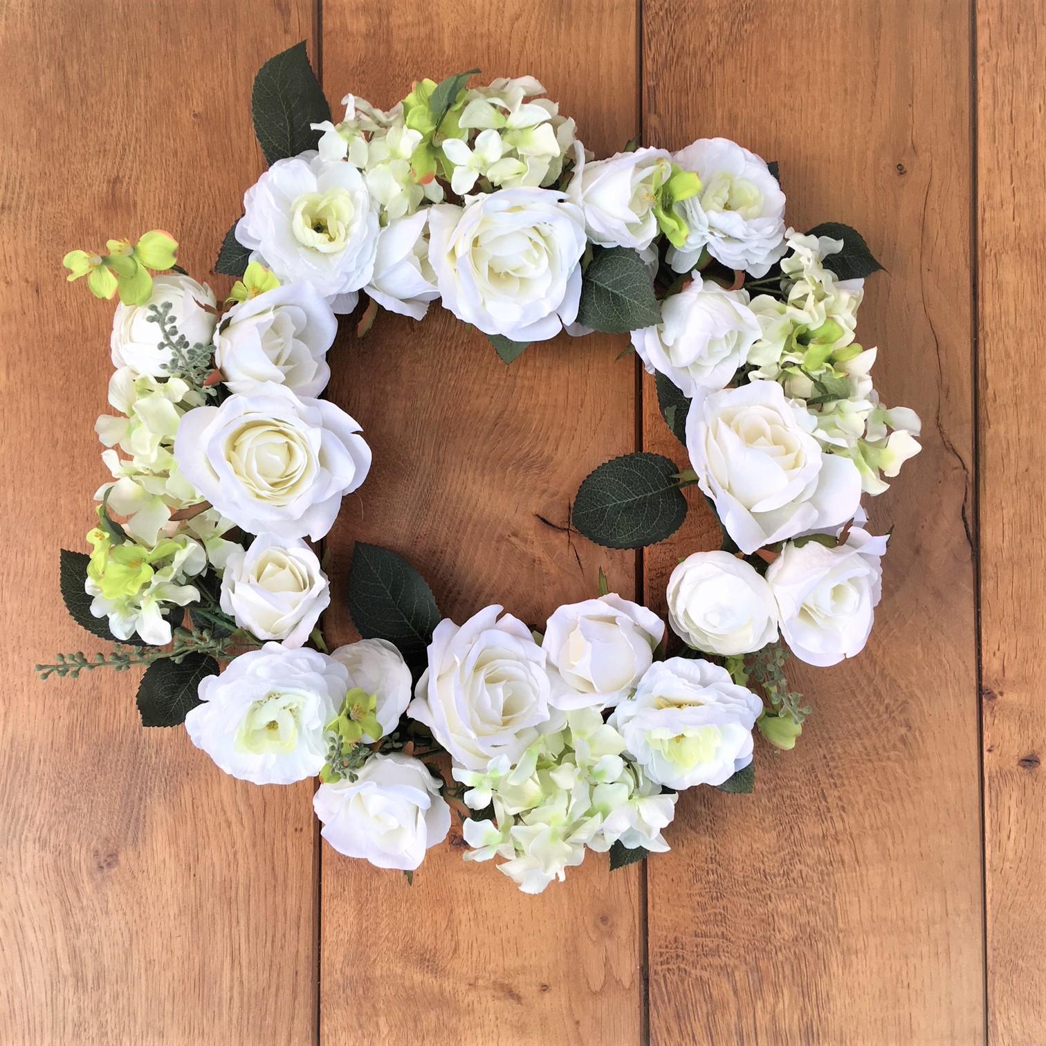 White Roses Artificial Floral Wreath Tutti Decor Ltd