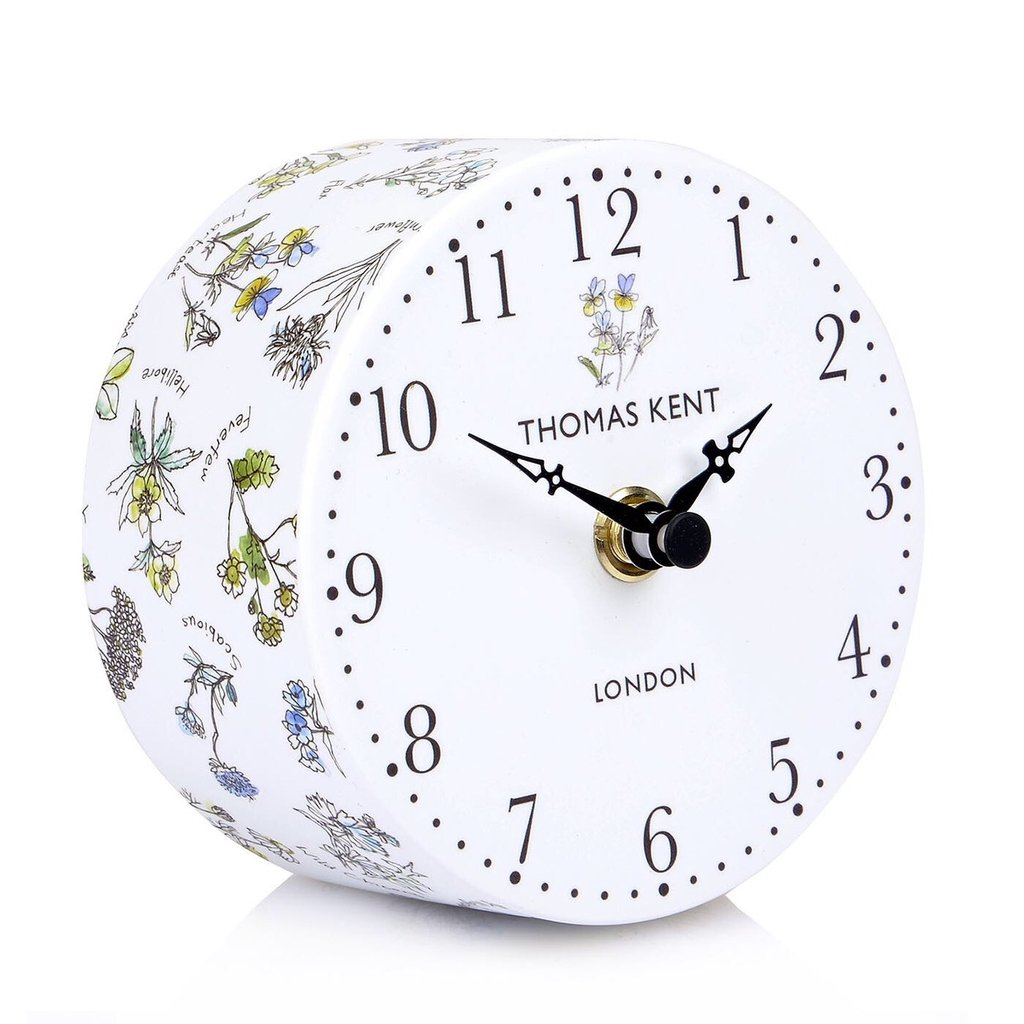 Portobello Mantel Clock In Wild Flowers Design Thomas Kent Silent