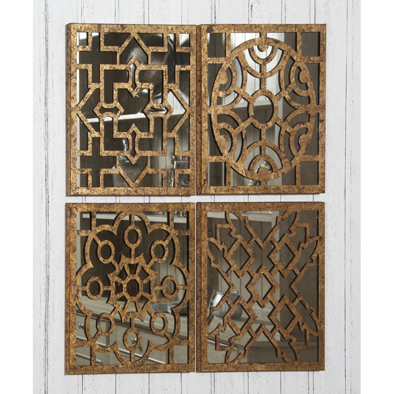 Set Of 4 Moroccan Style Square Mirrored Wall Art Each 40cm Square