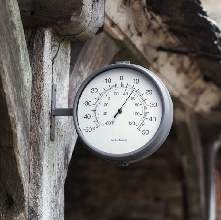 Waterloo Double Sided Outdoor Clock and Thermometer – Charcoal-2