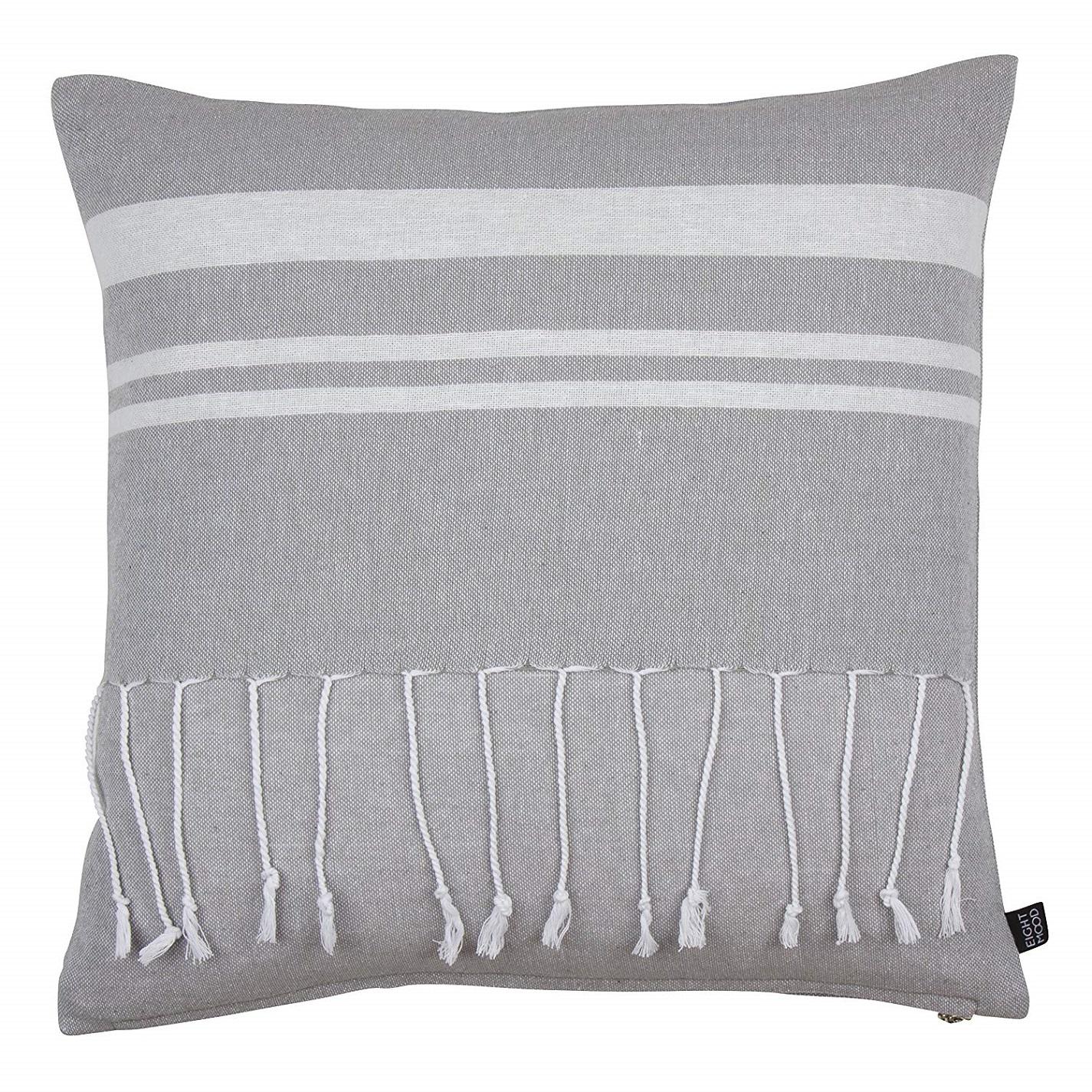 Eightmood Light Grey Fringe Tunis Cushion Tutti Decor Ltd