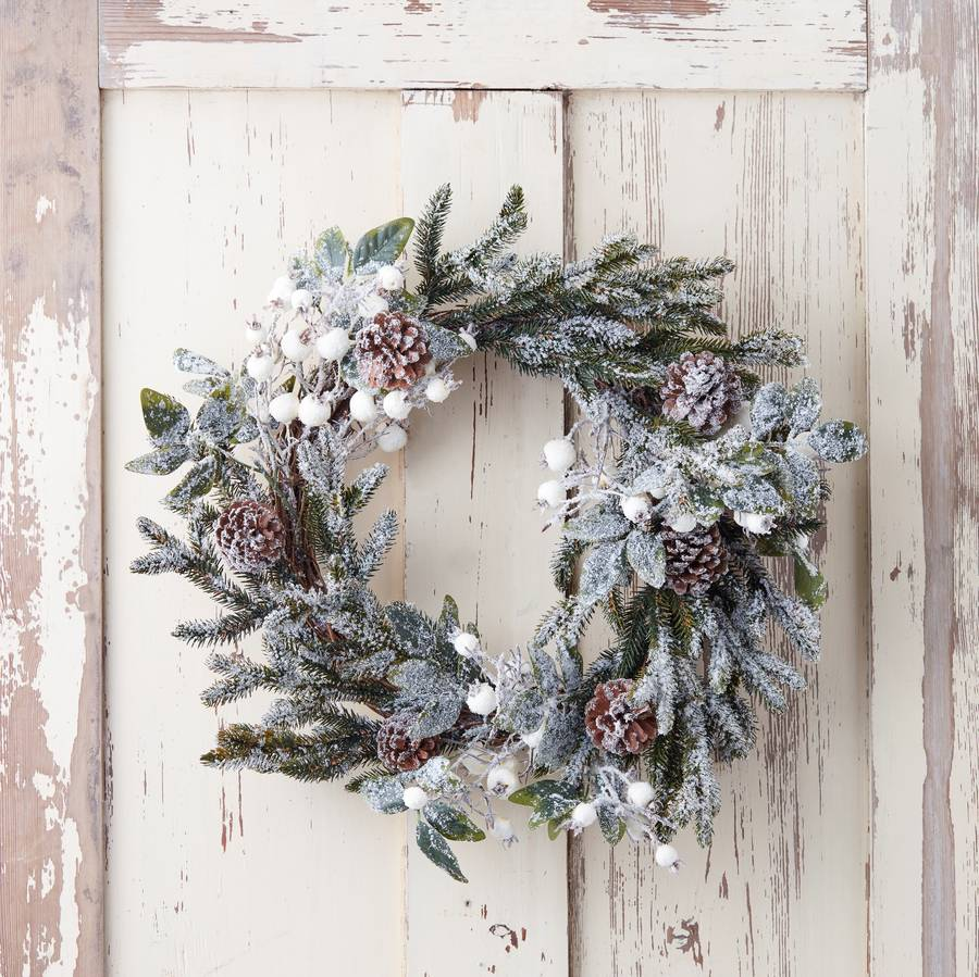 Christmas-wreath-pine-cones-frosted-white-berries