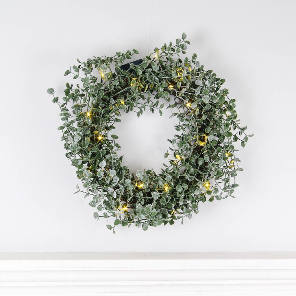 gisela-graham-frosted-eucalyptus-wreath-led-lights