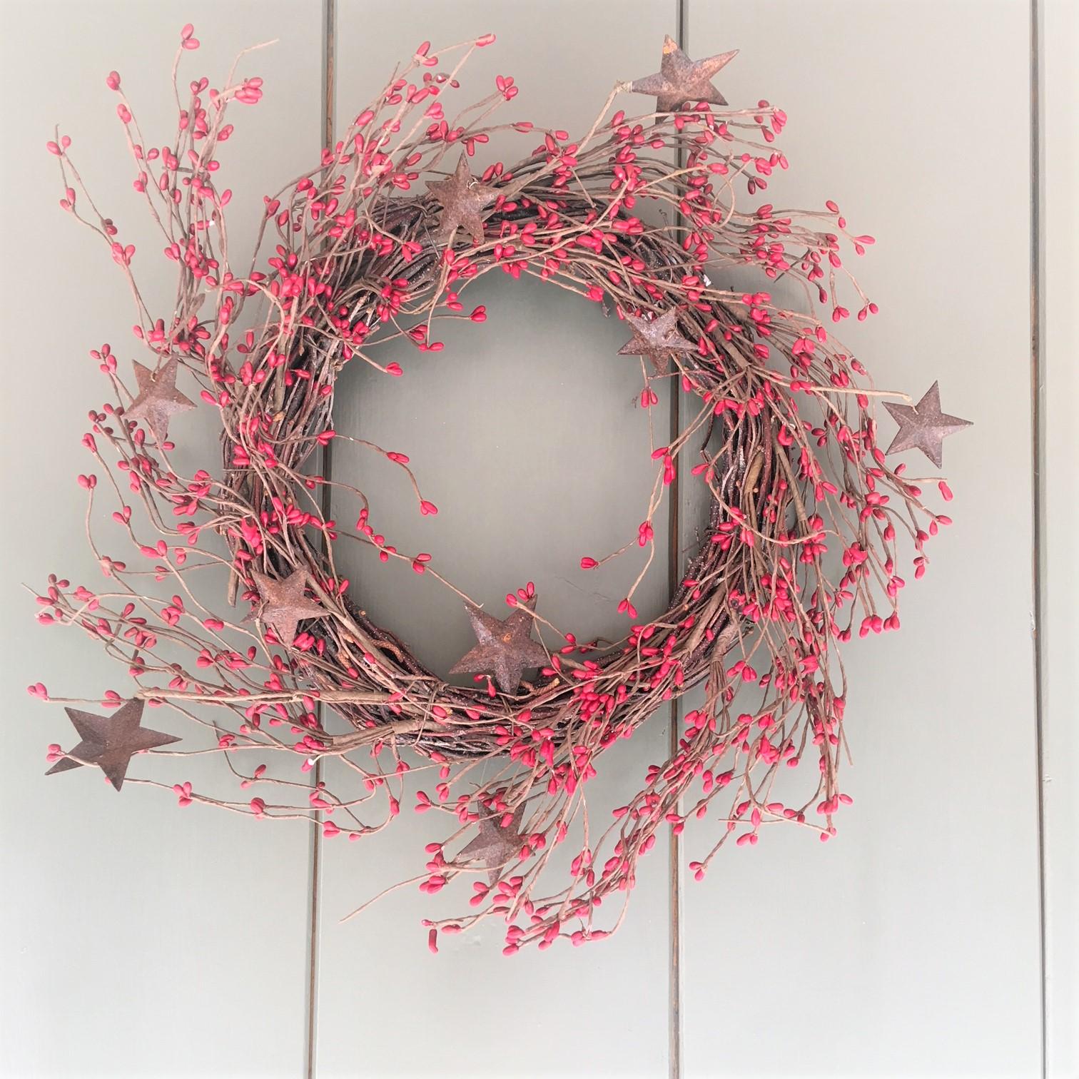 Rustic Stars Red Berries Country Wreath Tutti Decor Ltd