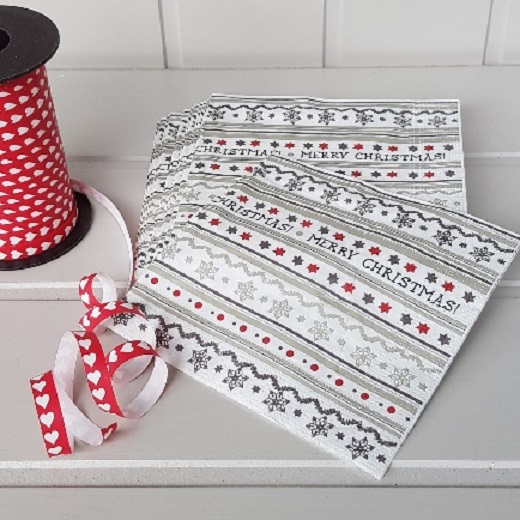 Christmas Napkins.Grey Striped Merry Christmas Festive Napkins