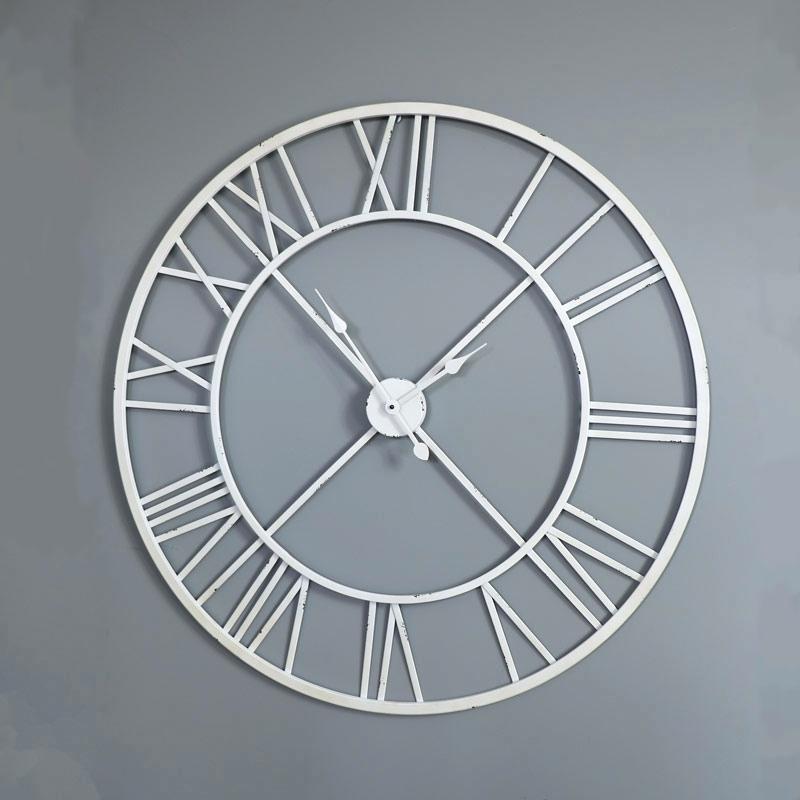 large-white-skeleton-wall-clock-silver