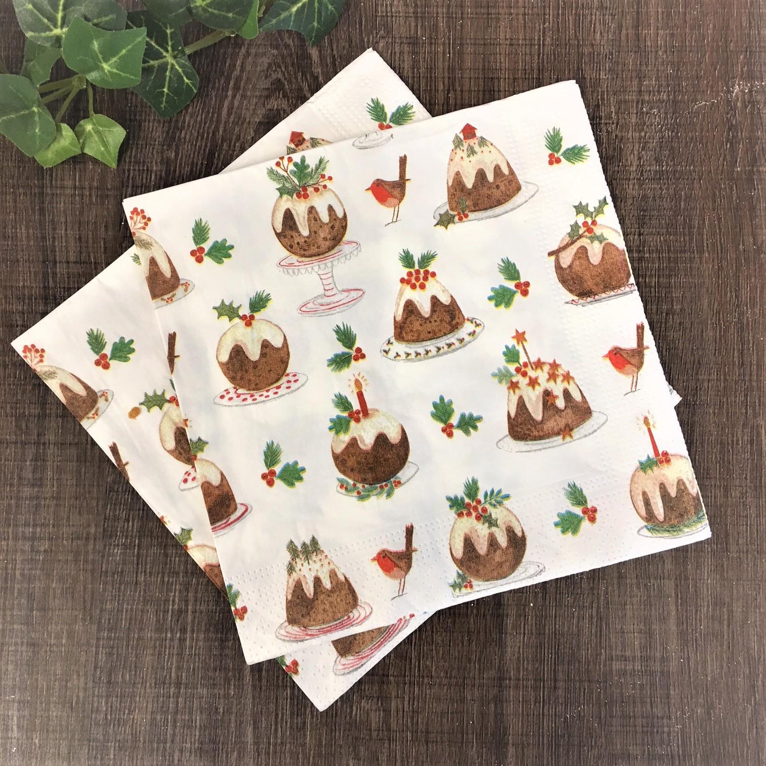 Christmas Napkins.Christmas Pudding Robins Paper Napkins