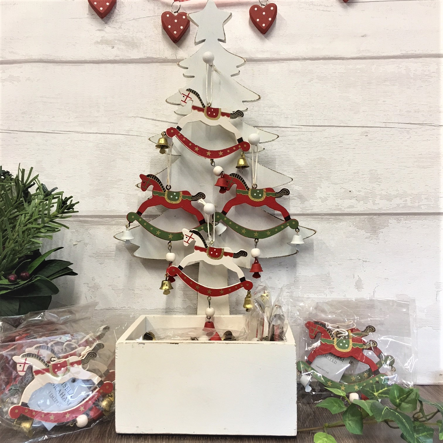 wooden display tree with 24 rocking horse tree decorations
