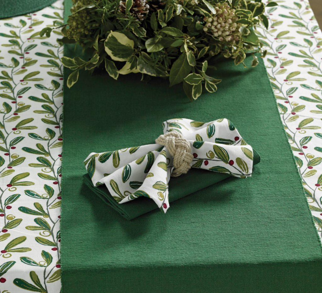 Mistletoe napkins and rope napkin ring