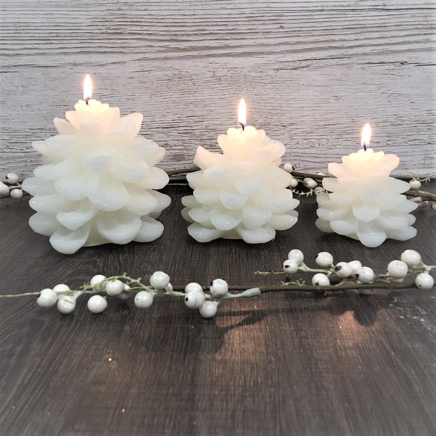 Snowy Pine Cone Candle Set Tutti Decor Ltd Lene Bjerre