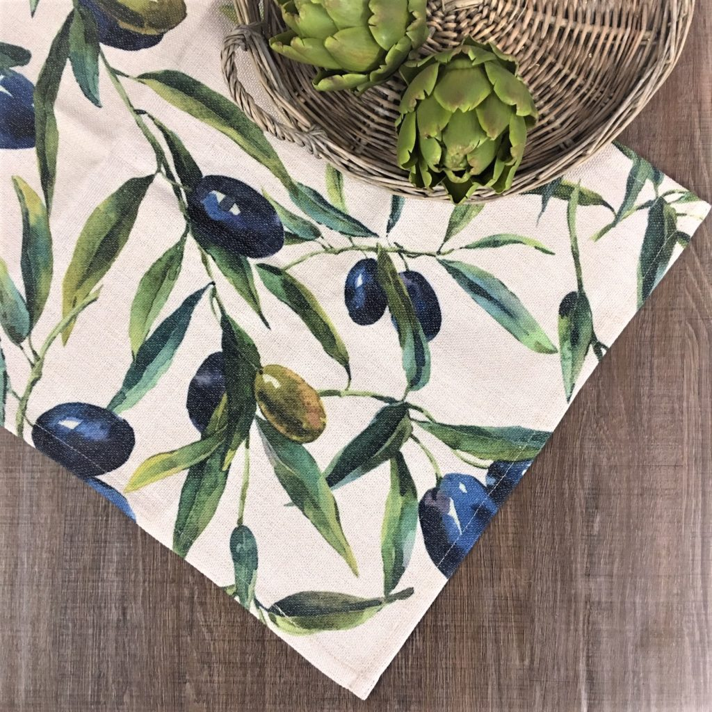 Olives Print Linen Fabric Table Runner Tutti Decor Ltd