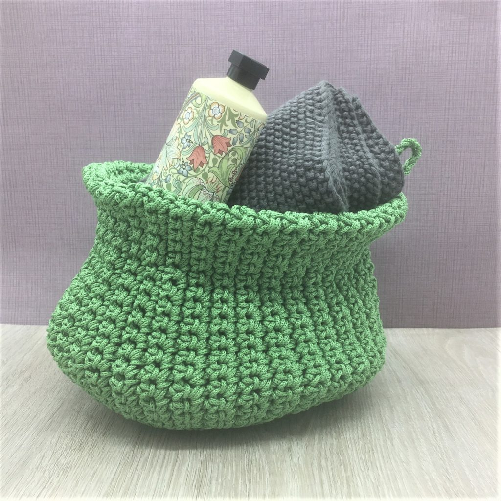 knitted-green-storage-basket
