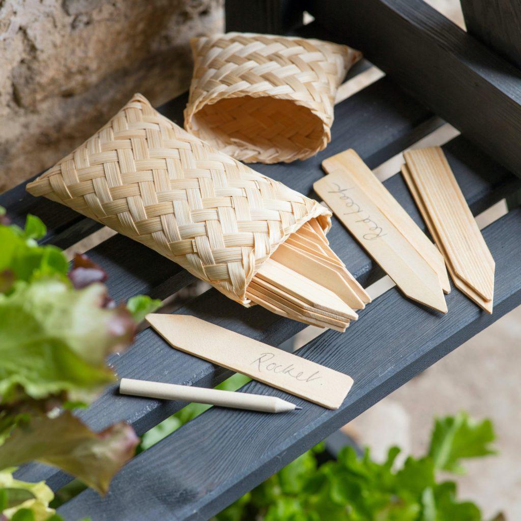 Garden Tags in a Bamboo Bag