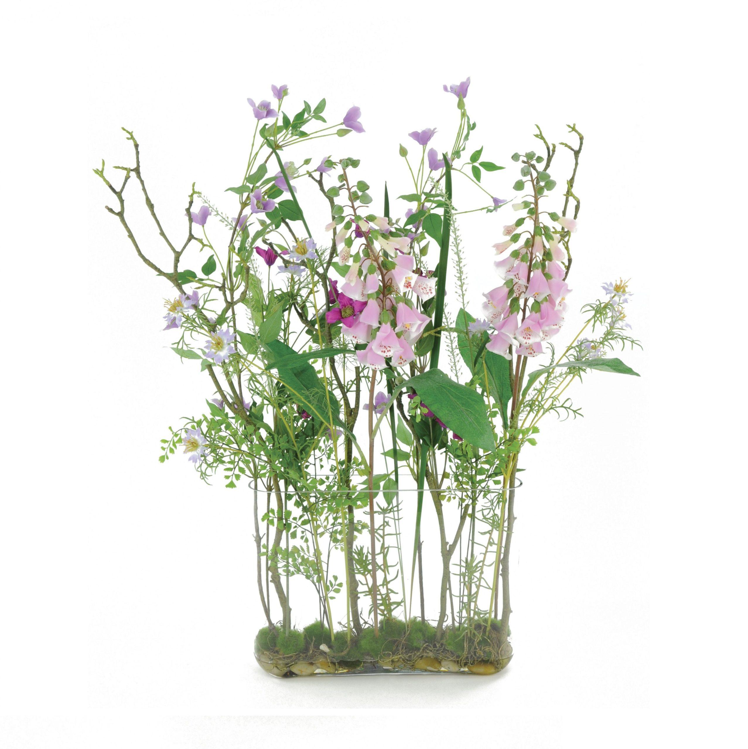 Large Faux Wild Meadow Flower Tank Arrangement By Floralsilk 90cm Pinks White Ebay